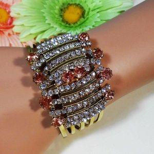 Jewelry - Pink Topaz & Cubic Zirconia Hinged Cuff Bracelet C
